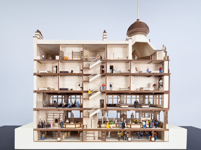 A model of the Elephant & Castle pub, which offered visitors a meeting place, job centre, post office, bureau de change and games room, all rolled into one. Photo Credit: Simon Kennedy