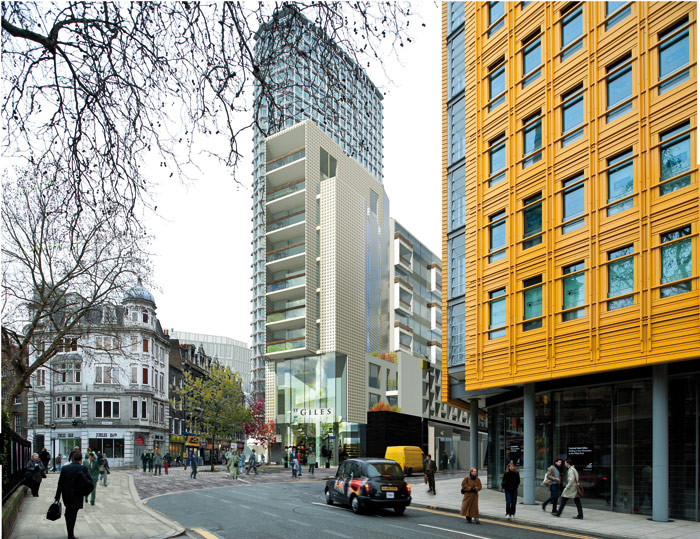 New affordable housing is contained behind a south-facing concrete ladder facade. Renzo Piano's Central St Giles is on the right. Photo Credit: Rick Mather Architects