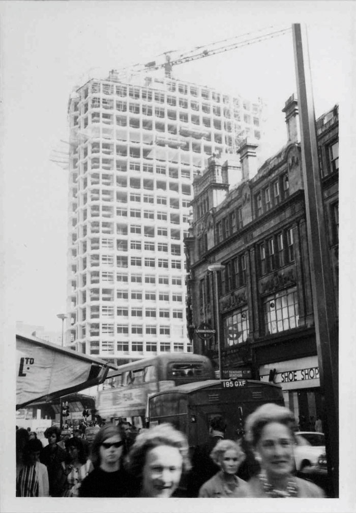 Centre Point under construction, 1964. Modular concrete design and the use of a jump crane added a new floor every 11 days. Photo Credit: London Metropolitan