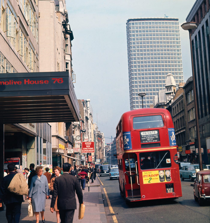Centre Point from Oxford St in the Sixties. Until 2015, the only change to its look then was the installation of crown lettering in the 1990s. Photo Credit: Mary Evans