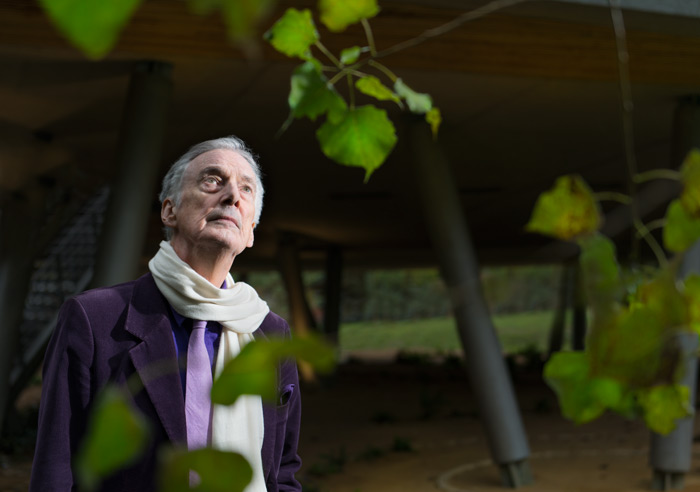 Charles Jencks reflects underneath Wilkinson Eyre's tree houselike Centre. Photo Credit: Ivan Jones