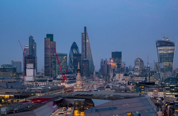City skyline (L-R) Salesforce Tower (KPF 2011), Tower 42 (Seifert 1980), 125 Old Broad St (refurb: GMW 2008), 30 St Mary Axe (Foster 2004), Aviva Tower (GMW 1969), Leadenhall Building (RSHP 2014), Lloyd's (RRP 1988), 20 Gracechurch (GMW 1992), Willis Building (Foster 2011), 20 Fenchurch (Viñoly 2015)