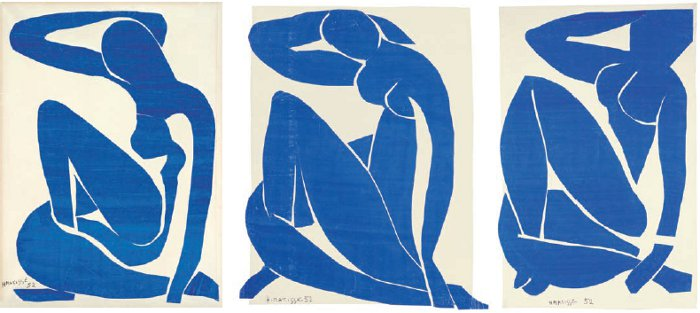Blue Nude I, II and III, all 1952, are gouache-painted paper cut-outs on paper, on canvas. They were modelled by his muse Delectorskaya
