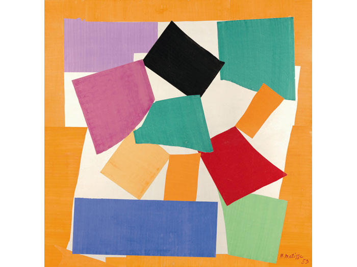 The Snail (1953) is gouache on paper, cut and pasted on paper then mounted on canvas, from Tate