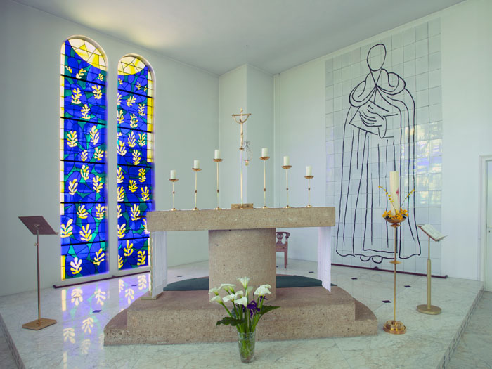 Inside the Dominican chapel at Vence, showing Matisse's work in place, with the Tree of Life behind the altar. Matisse was introduced to the chapel project by his former nurse