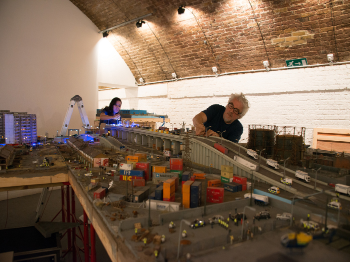 Two architectural modellers (not pictured) were part of the team making pieces such as the road flyover Photo credit: Johnny Tucker
