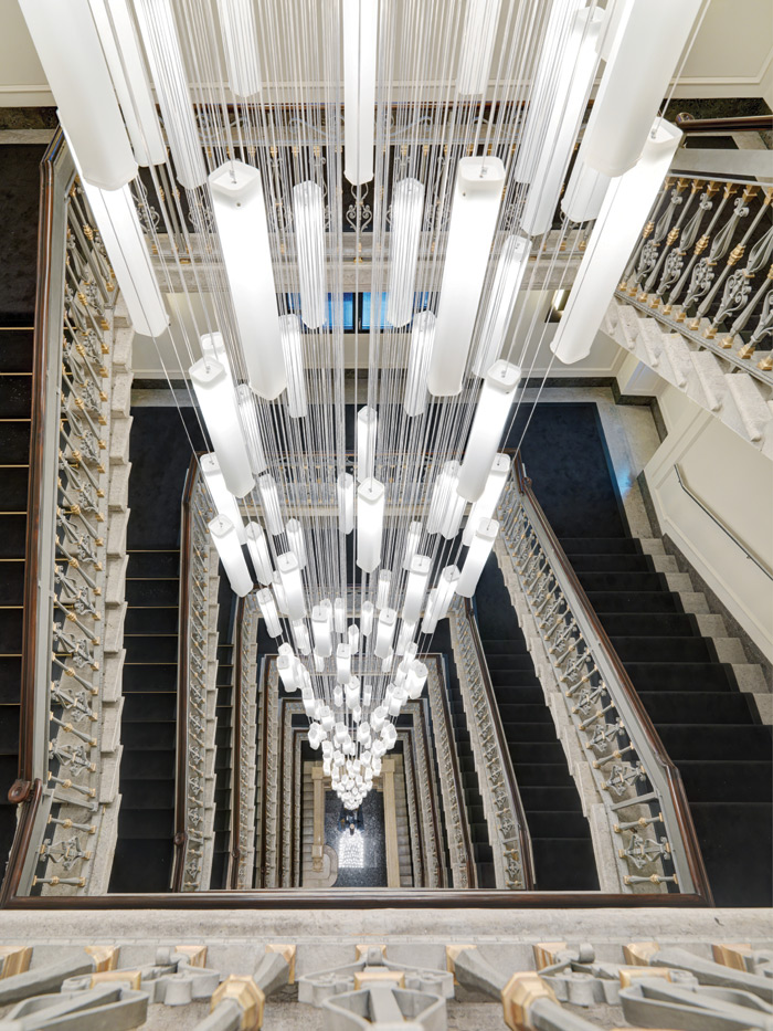 The central staircase features a 30m-deep chandelier of Murano glass