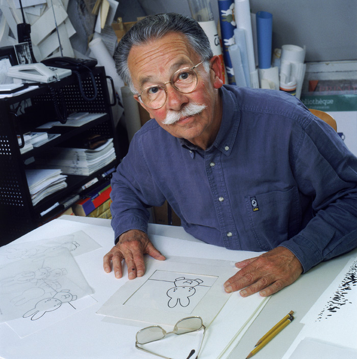 Dick Bruna works at his rooftop studio in his hometown of Utrecht