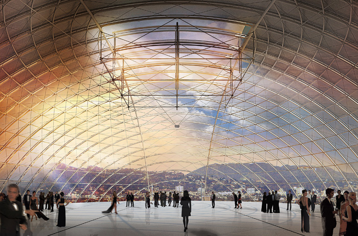 The new Motion Picture Academy in Los Angeles will include a dramatic 42m-diameter platform above the main auditorium, within a floating bubble.Photo: RPBW