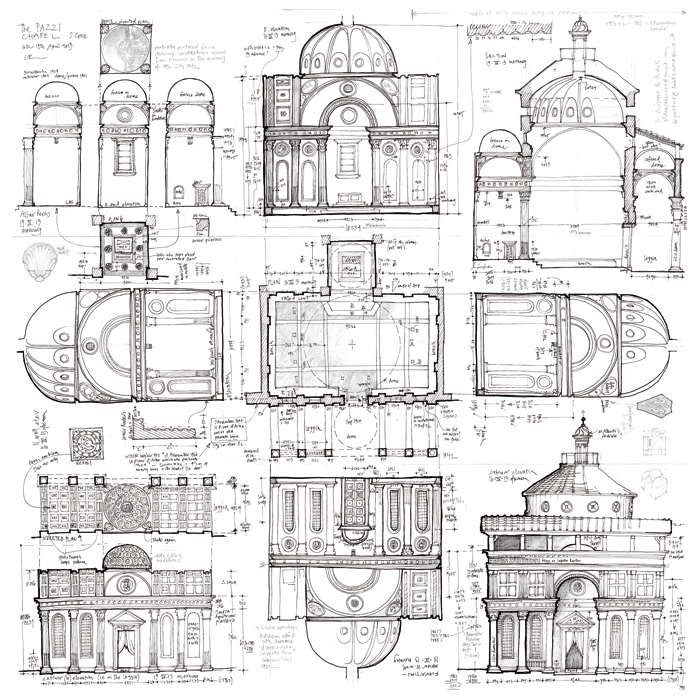 Chris Eckersley's dynamic drawings of the Pazzi Chapel in the Basilica of Santa Croce in Florence, as chosen by Trevor Flynn from Drawing at Work. Chris Eckersley is a freelance furniture designer