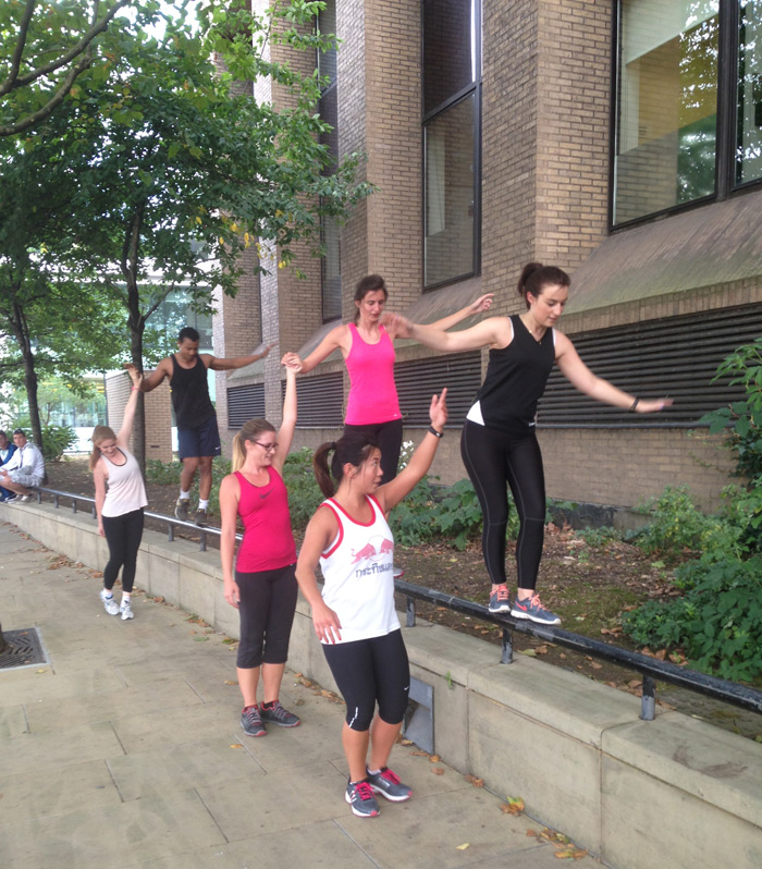 Executives are put through their paces using the street as a gym