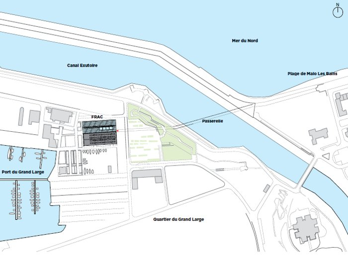 This map locates FRAC in the Grande Large docklands area, and shows how it will be connected by a footbridge to Dunkirk's resort zone Photography Philippe Ruault, Courtesy FRAC Dunkerque