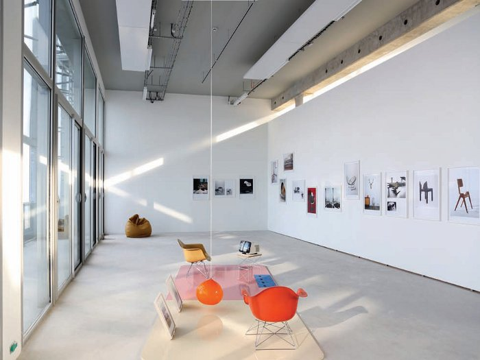 FRAC's fourth floor. The inaugural show includes Delanov' and Heger's Still Life (Plenty Objects of Desire) (1997) in foreground Maxime Dufour Photographies, Drawings courtesy Lacaton & Vassal