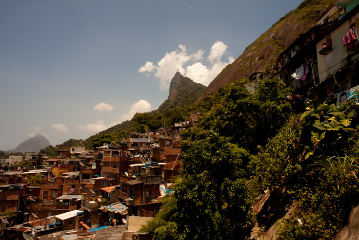 The Floresta da Tijuca favela climbs hills west of the iconic Cristo statue