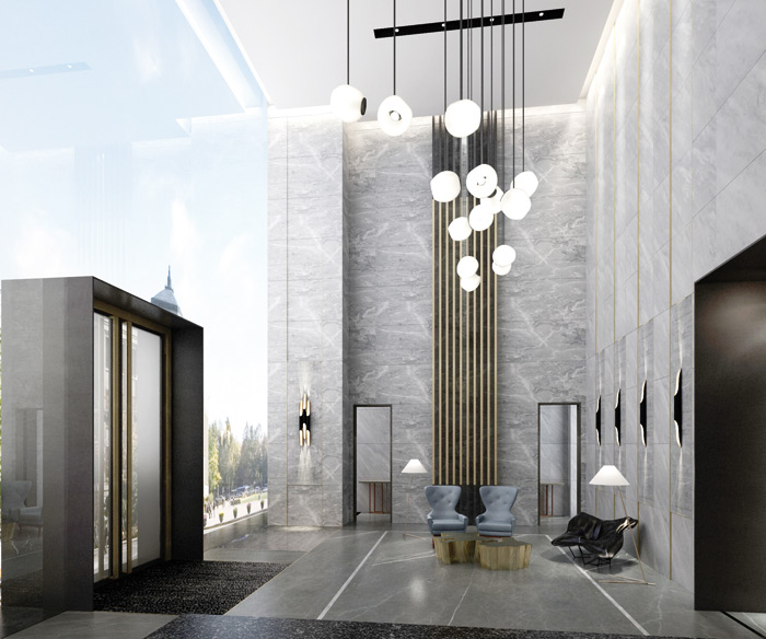 The lobby of luxury apartments in Shenzhen, China, due for completion next year