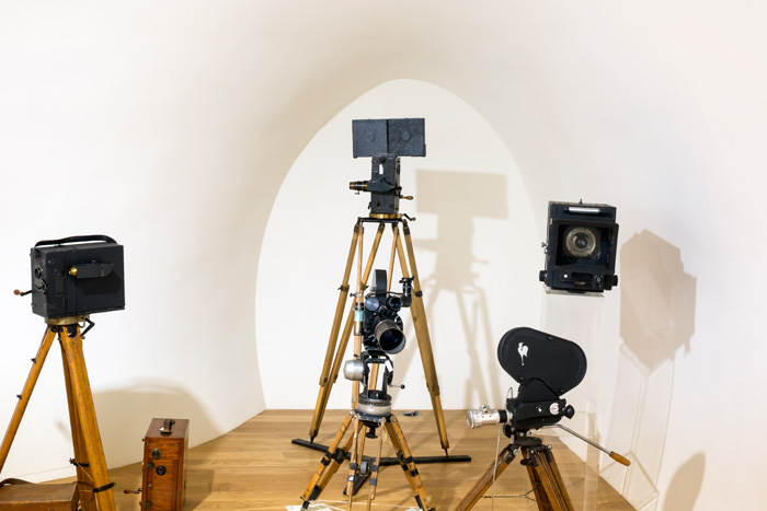 Pathé's vintage collection of cameras even occupies a nook in the 'tail' of the building