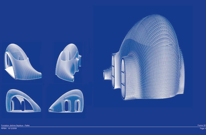 Some 7,000 lamellas are configured in rows that follow the curvature of the form. The solid concrete shell and three protruding extensions to neighbouring buildings are also shown