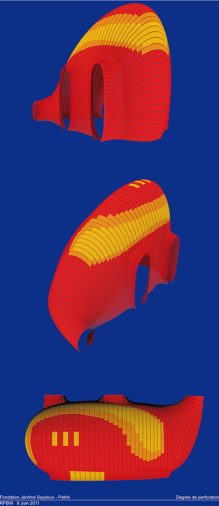 The degree of perforation of the lamellas is modelled, with red for 50 per cent and yellow for 30 per cent