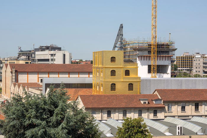 The white concrete Torre gallery (2016) will soon announce the Fondazione's presence at Largo Isarco on the horizon of Milan.