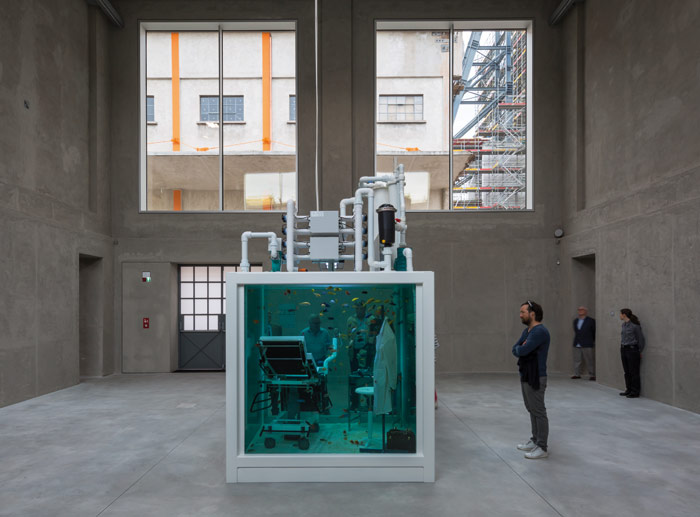 Lost Love (2000), by Damien Hirst, occupies one of the severe concrete Trittico spaces, where once the former brewery vats sat