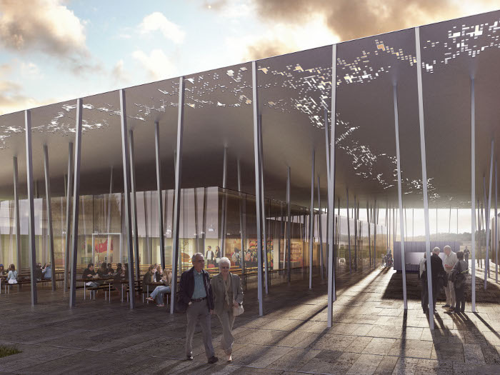 A subtly undulating canopy is tethered by 211 thin steel columns Courtesy DCM