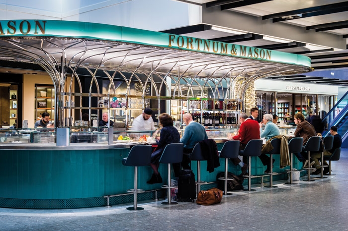 Fortnum & Mason's The Bar and Heathrow T5, designed by Universal Design Studio, features a freestanding canopy that references English cutlery
