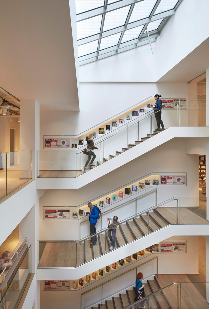 Architect Lifschutz Davidson Sandilands has made clever use of the space thanks to a series of staircases. Photo Credit: Hufton + Crow.