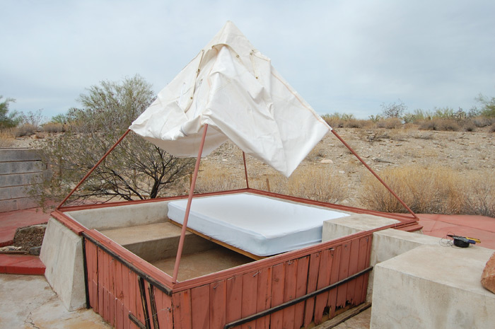 Pablo Moncayo's temporary desert shelter which he stayed in while renovating the Tree House