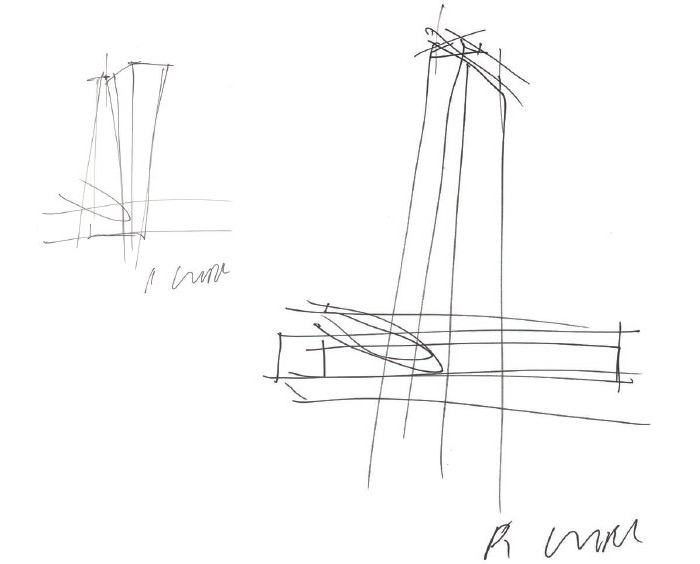 Wolf Prix's sketches illustrate the concept of towers with special geometry above the box of the old market hall.