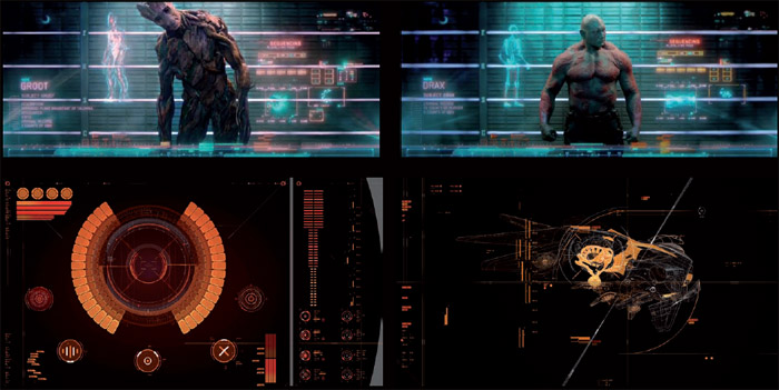 – Screen graphics for the 2014 film Guardians of the Galaxy. Photo: 2014 – Marvel Studio