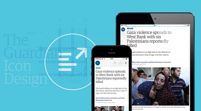 Territory designed a system of icons for the Guardian's app and online Services. Photo: Territory Studio Ltd