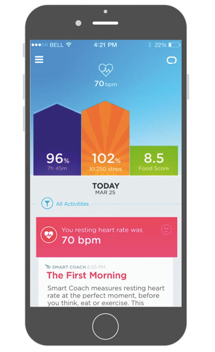 The native Jawbone app: home screen