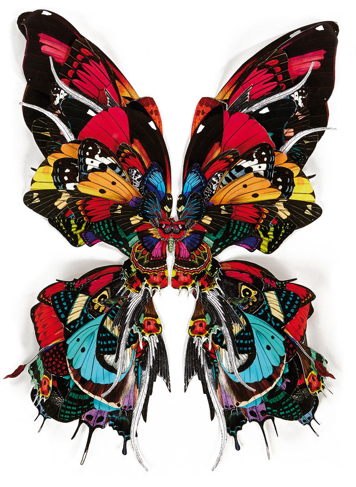 Multi coloured butterflies are a recurring motif in Williams' work
