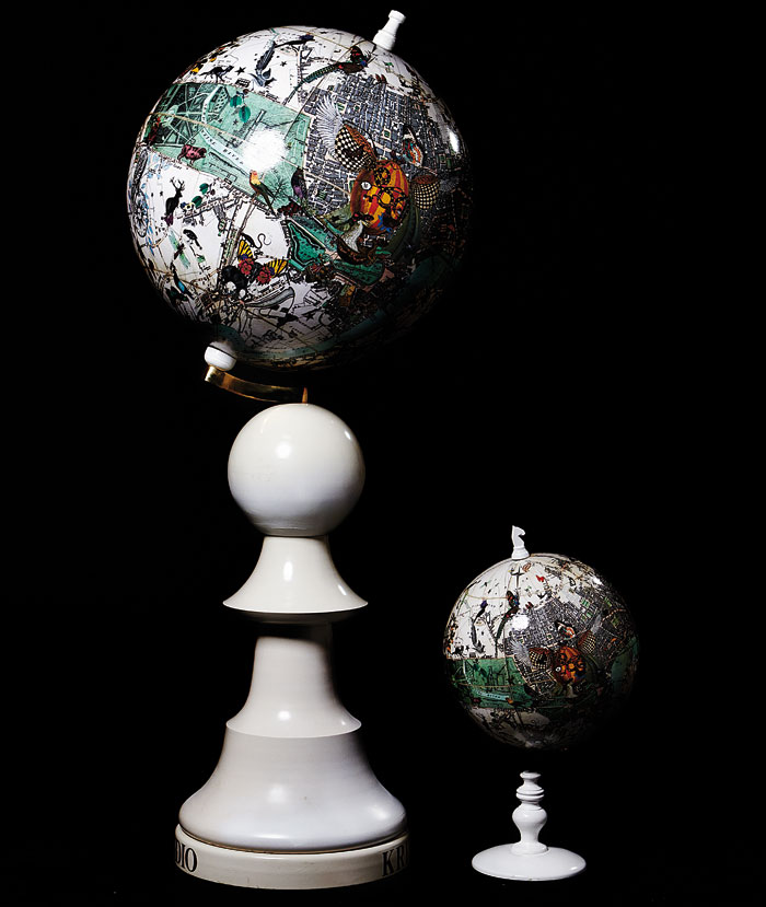 Globes, created with globe-maker Grieves & Thomas, are made by applying 12 printed gores to a sphere, the same way it has been done since 1507