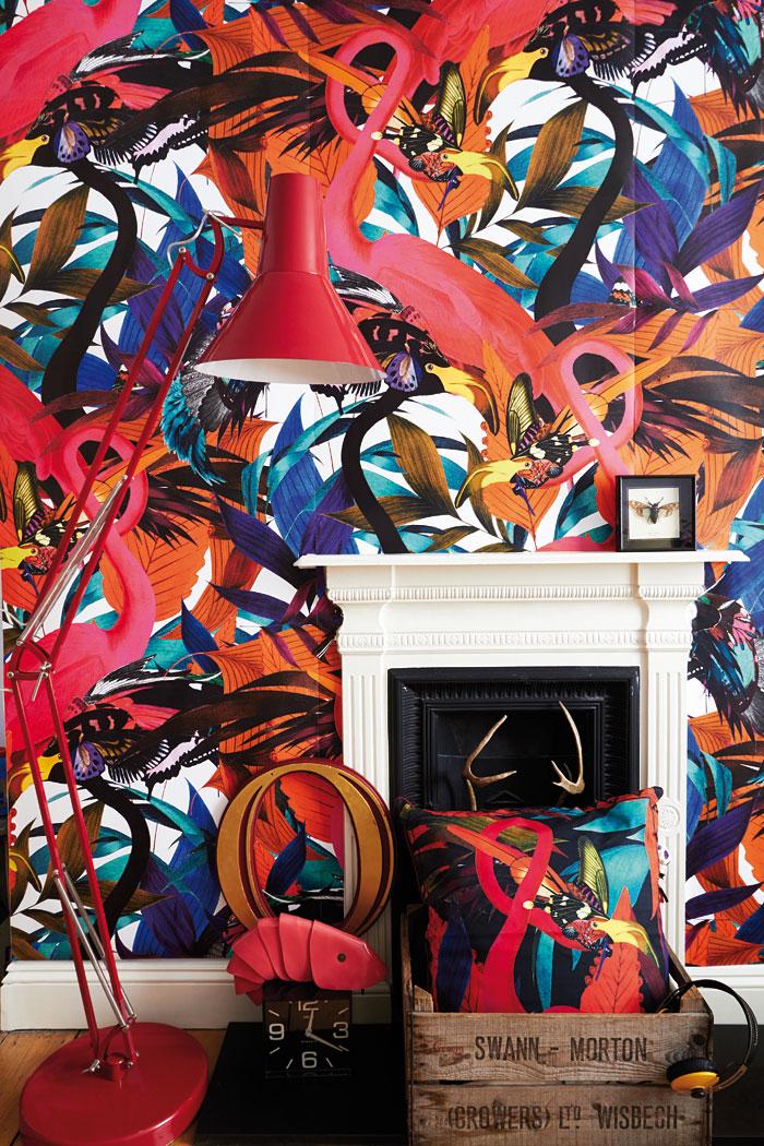 Exotic wallpaper murals feature pink flamingos and African wildlife among other magical creatures