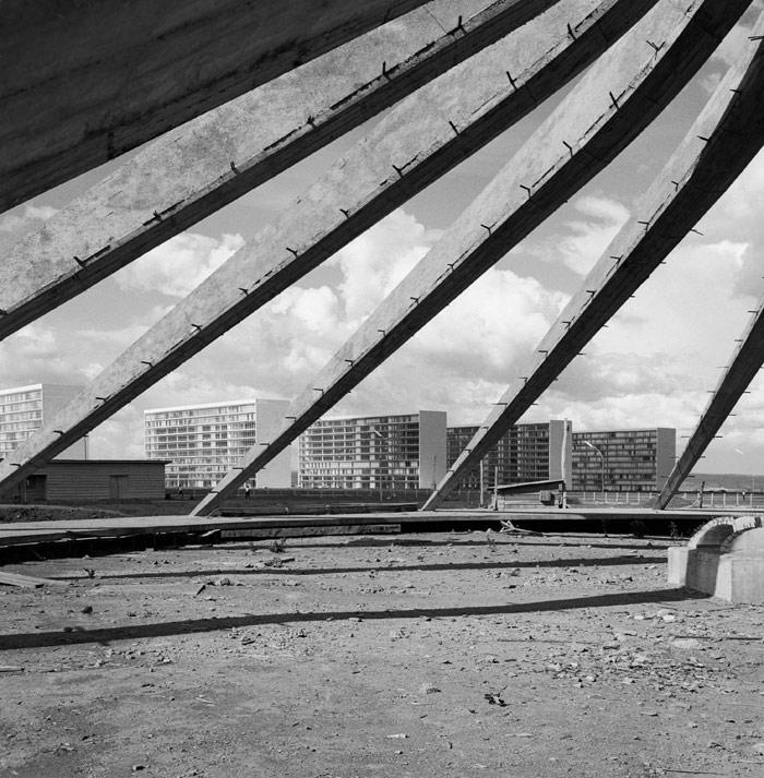 Oscar Niemeyer. Cathedral under construction, Brasilia, Brazil