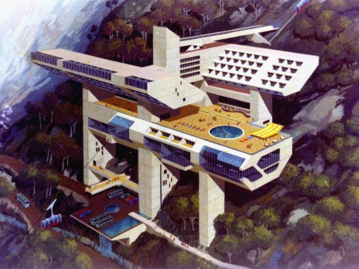 Miguel Rodrigo Mazuré (Peruvian, 1926–2014). Perspective of a proposed hotel for Machu Picchu (1969)