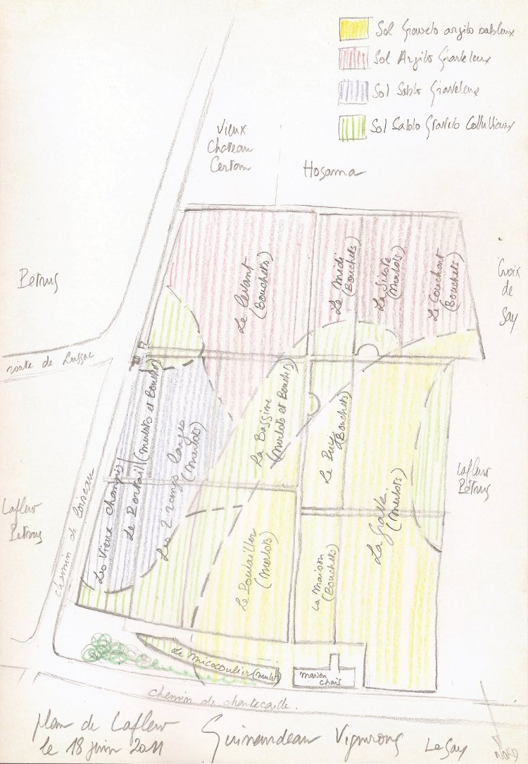 Jacques Guinaudeau's original sketch, with a key to soil types, for the map of Lafleur in Neal Martin's Pomerol