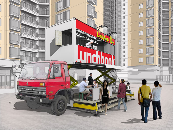 Lunchbook mobile canteen, designed for the Shenzhen-Hong Kong Biennale, provides a meal-time network for flexible worker. Photo Credit: Aberrant architecture