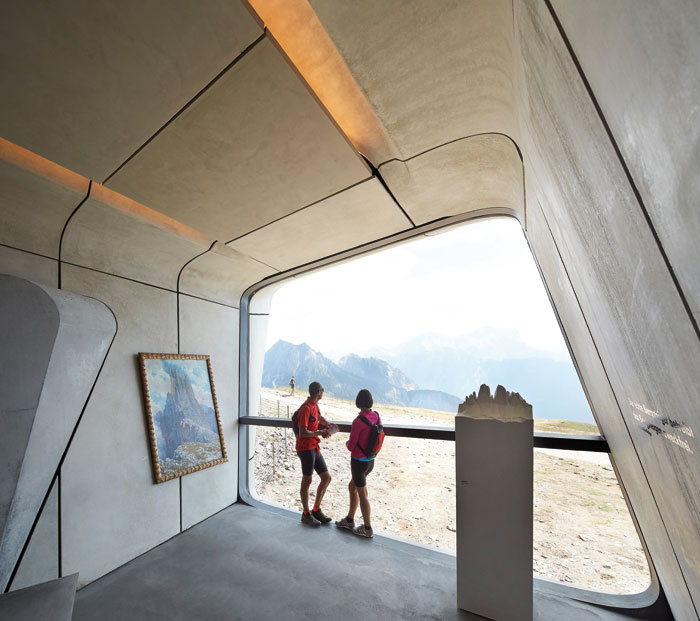 This panoramic window looks across to the Dolomites and also houses a sculpture by Stephan Huber