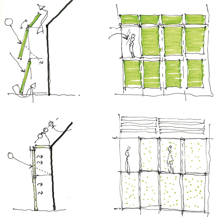 Sketches for Solarleaf (in action right), an installation for the International Building Exhibition, 2013