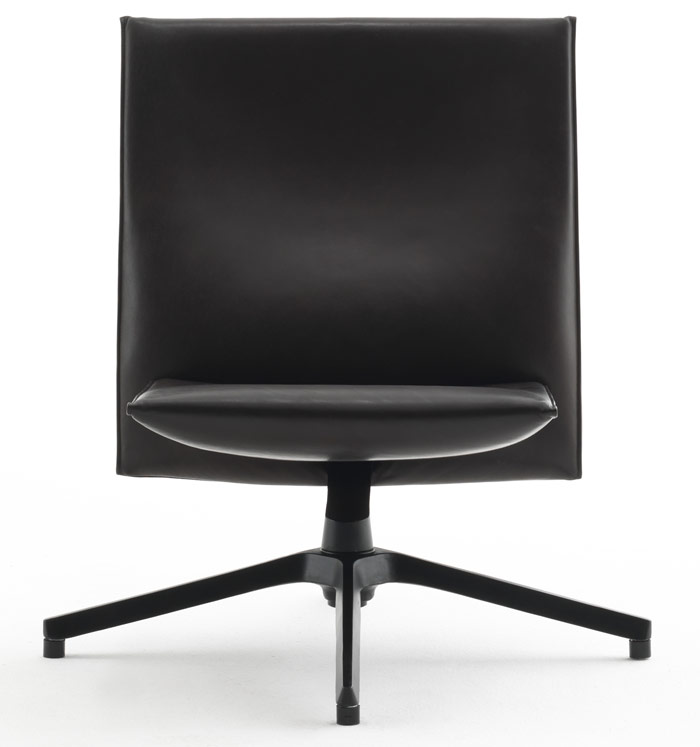 Knoll, Pilot by Barber & Osgerby, Front on, this surprisingly comfortable office/home crossover chair presents an uncompromisingly strong outline, and turns to pure finesse when viewed from the side.