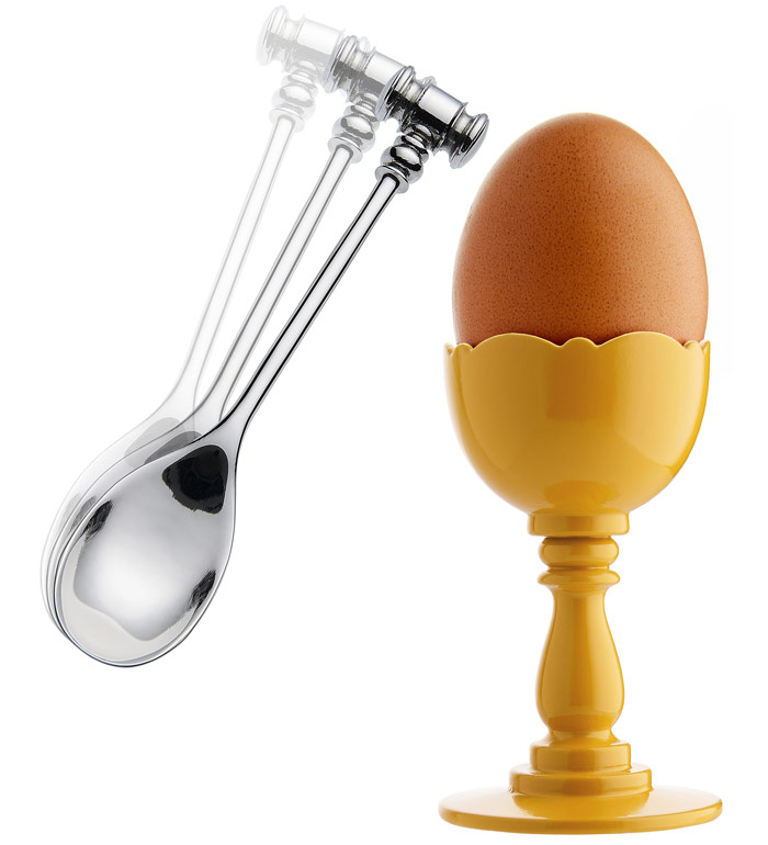 Alessi, Egg Cup and Spoon by Marcel Wanders. The cup is OK but the spoon with weighted hammer is genius