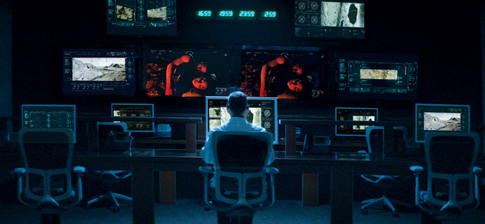 Screen graphics for the military control room in the film Miles. Photo: Courtesy Oliver Daly