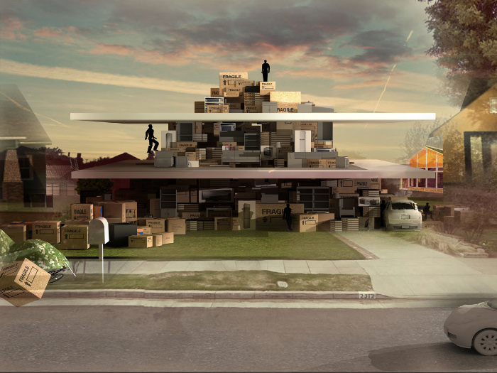 Angelidakis' Domesticated Mountain suggests that the suburban home is a repository of real and virtual life