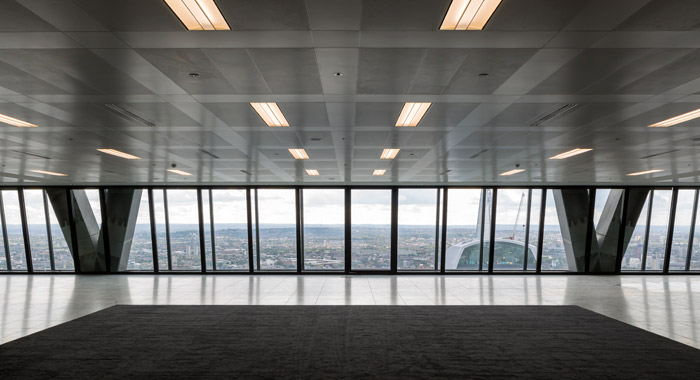 All office floors face south. Higher ones, such as this, command a view over 20 Fenchurch Street (the Walkie Talkie) to The Shard