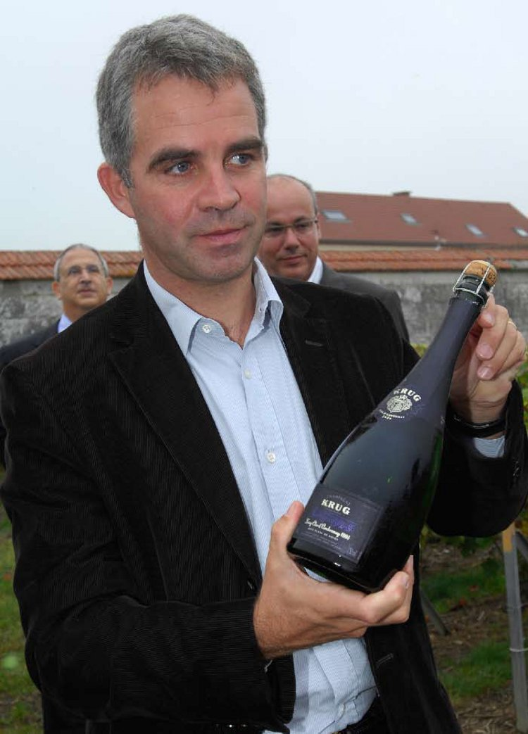 Olivier Krug at Clos d'Ambonnay with one of the 3,000 bottles of the inaugural release of his house's new Blanc de Noirs