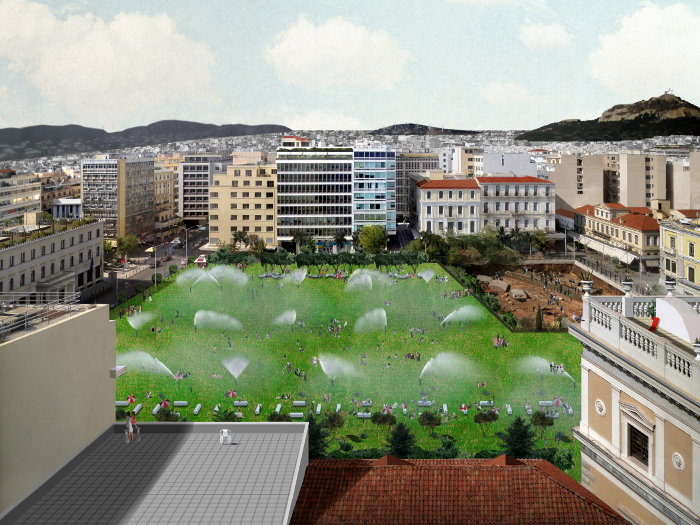 Kotzia Square, a proposal to turn Athens City Hall square into a grassy field, complete with irrigation sprinklers that cool off the heat
