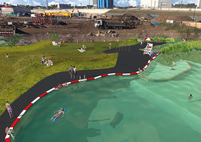 As this model imagines, the project will allow UK bathers their first dip in a naturally filtered pond
