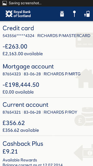 RBS mobile banking app